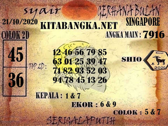 Kode syair Singapore Rabu 21 Oktober 2020 145