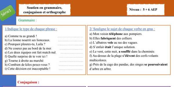 exercices-de-soutien-en-grammaire-conjugaison-orthographe-5AEP-et-6AEP