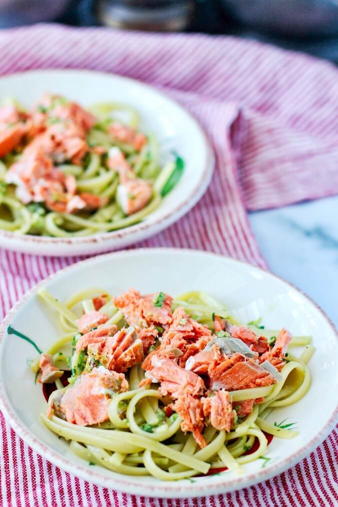 Linguine with Salmon and Pesto in bowls