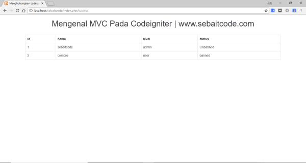 Menghubungkan Codeigniter dan MySql