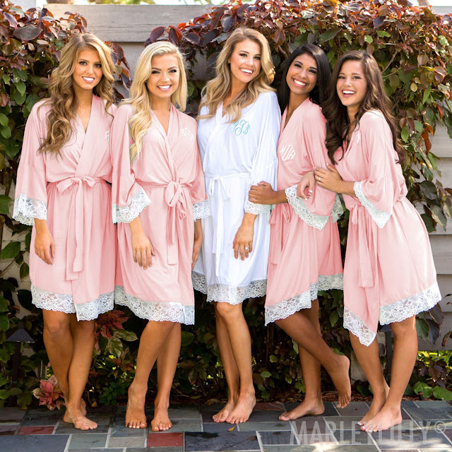 girls in bridal party wearing matching personalized robes