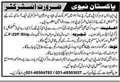 Join Pak Navy Instructor Jobs 2020 in PNS Karachi