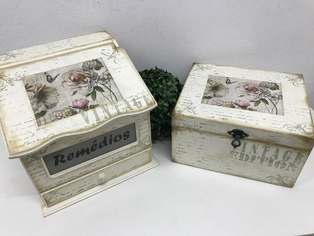 Caixa para Remédios com Gavetinha e Vidro Jateado e Caixa Multiuso.