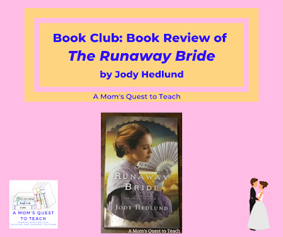 A Mom's Quest to Teach logo; cover of The Runaway Bride book; clipart of bride and groom