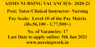 AIIMS Nursing Tutor - Clinical Instructor Jobs with 56,100-1,77,500 Pay Scale