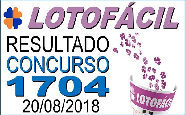 Resultado da Lotofácil concurso 1704 de 20/08/2018 (Imagem: Informe Notícias)
