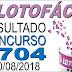 Resultado da Lotofácil concurso 1704 (20/08/2018)