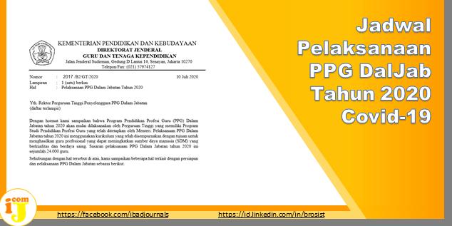 Jadwal Pelaksanaan PPG DalJab Tahun 2020 Covid-19