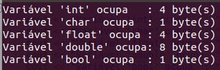 Função sizeof() em C++