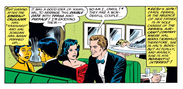 "Green Lantern (1960) #7 Page 25 Panel 1: The editor's note explains why Carol Ferris is not really Hal Jordan's boss, only his ""romantic interest."""