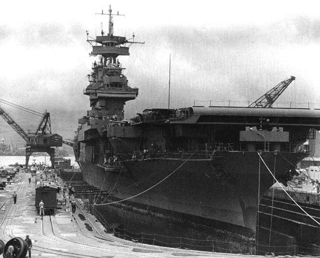 USS Yorktown in dry dock, 29 May 1942 worldwartwo.filminspector.com