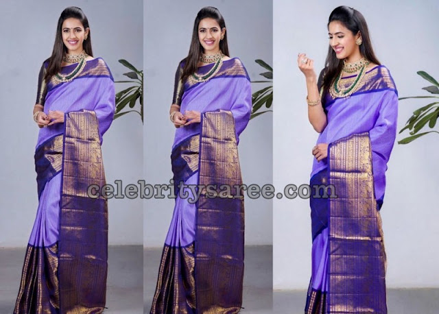 Niharaika Konidela in Purple SIlk Saree