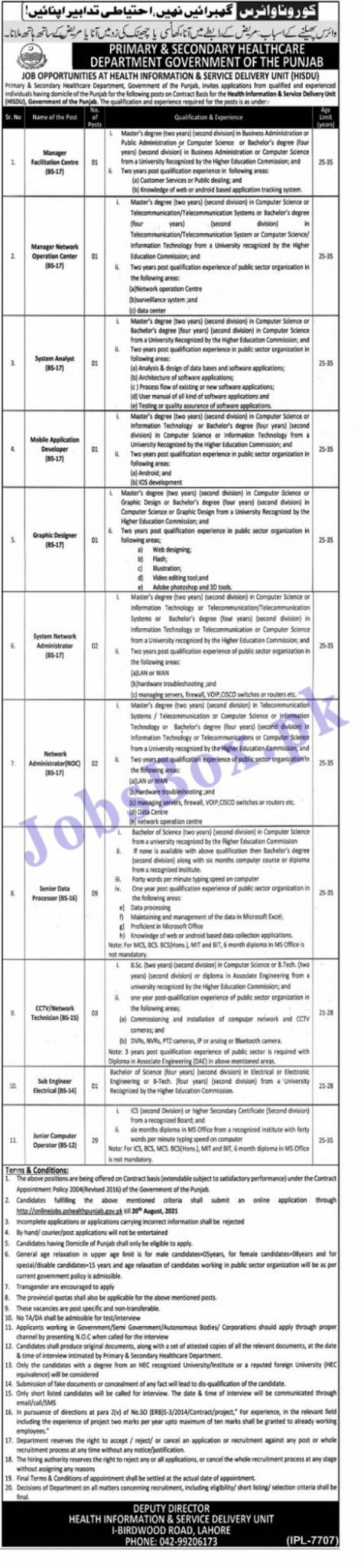 onlinejobs.pshealthpunjab.gov.pk Jobs 2021 - Primary and Secondary Healthcare Department Punjab Jobs 2021 in Pakistan