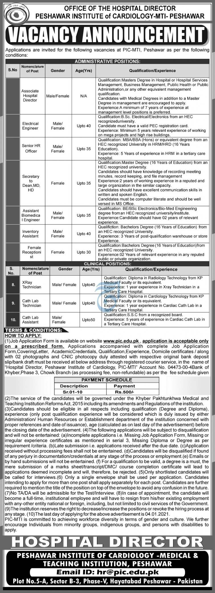 Institute of Cardiology Peshawar Jobs 2021