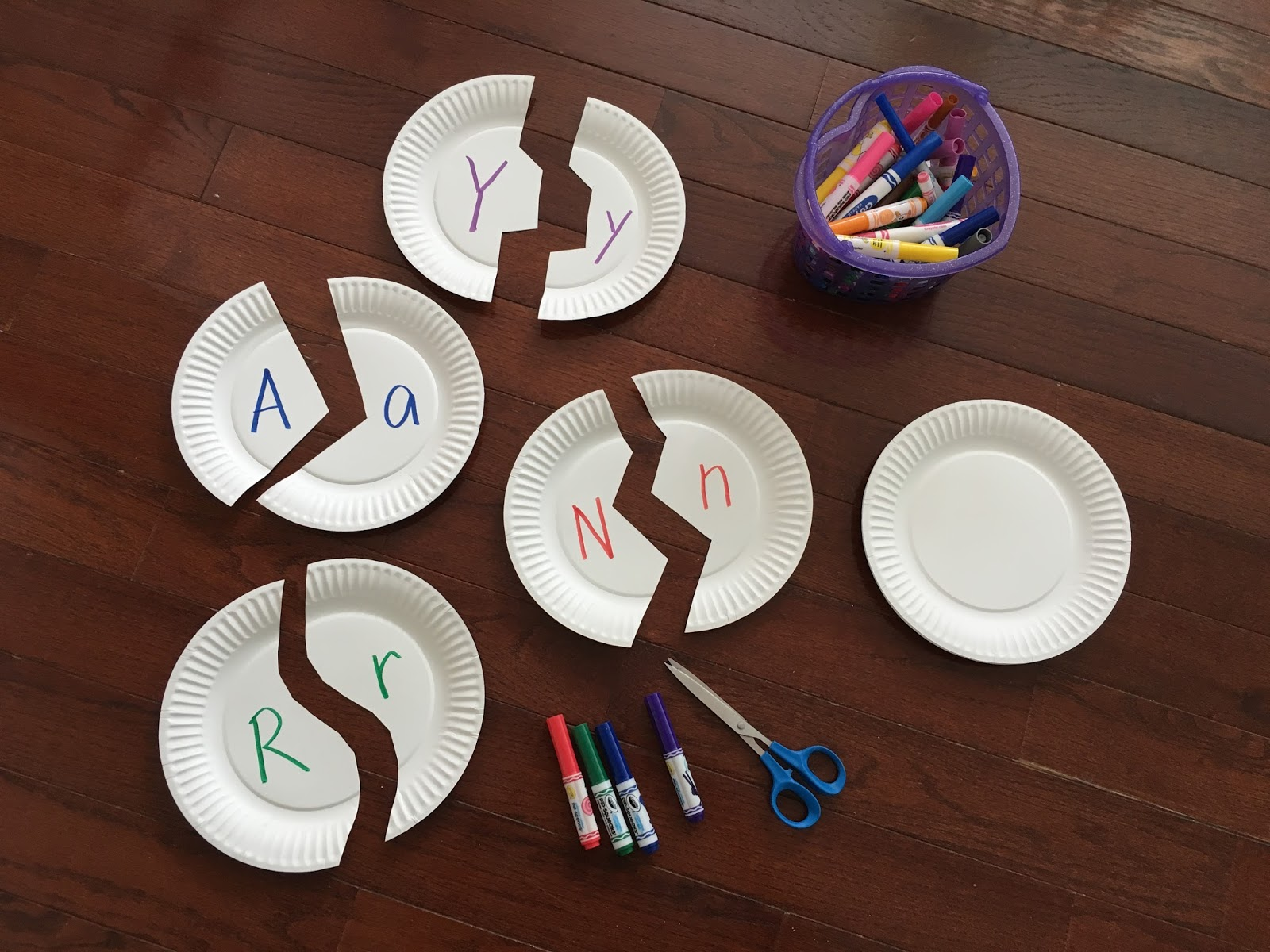 For this paper plate puzzle activity you only need three things. & Toddler Approved!: Alphabet Paper Plate Puzzles