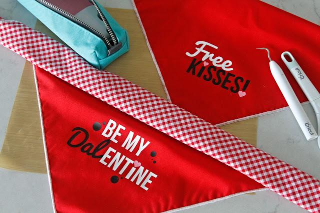 DIY Valentine's Day dog bandanas with Cricut iron-on heat transfer vinyl text