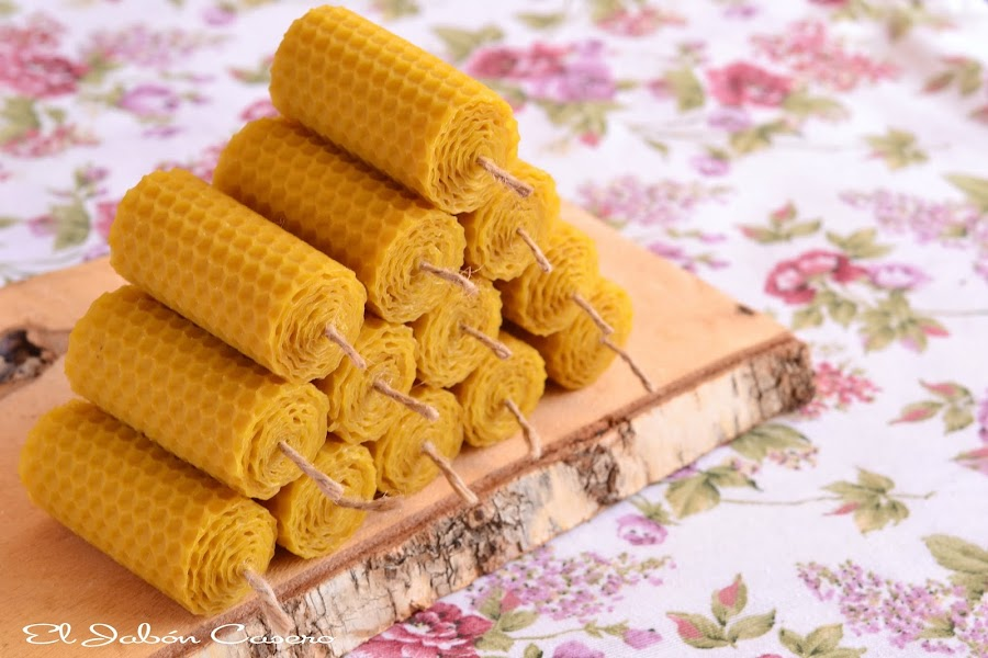 Detalles naturales para bodas velas de miel