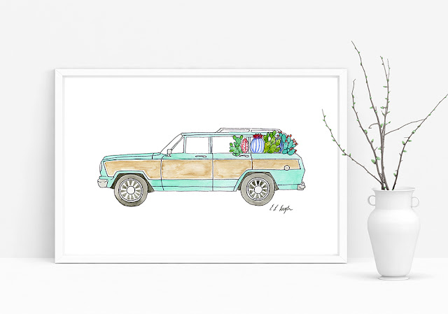 original watercolor Jeep Wagoneer illustration