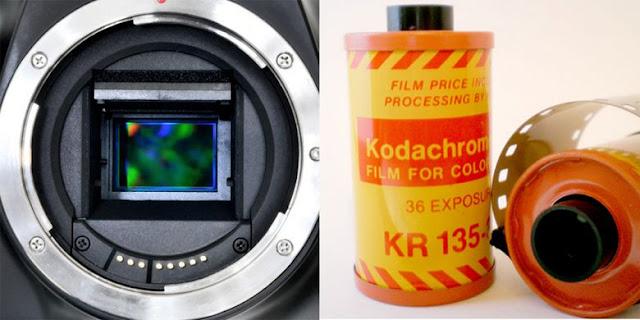 Kamera digital (kiri) memakai sensor sebagai medium penangkap gambar. Sensor adalah bagian persegi yang tampak berwarna-warni di tengah lubang mounting lensa kamera. Sementara kamera film memakai lembaran emulsi film yang biasanya tersimpan dalam rol berupa kemasan silinder. Inilah perbedaan yang paling mendasar di antara keduanya
