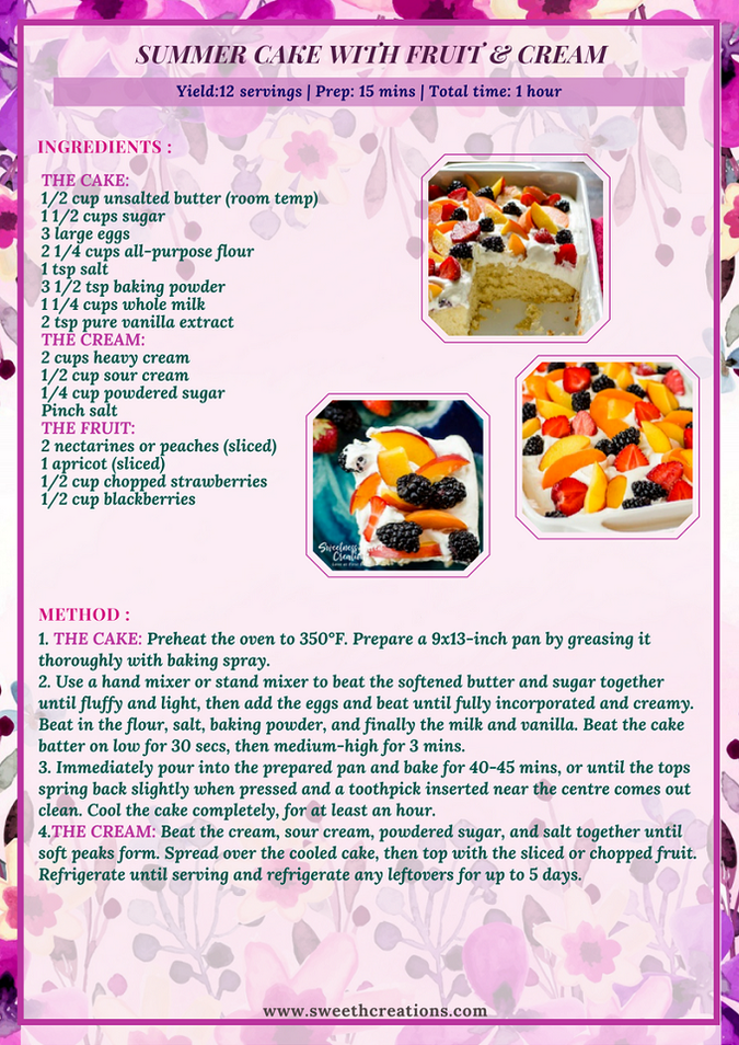 SUMMER CAKE WITH FRUIT & CREAM RECIPE