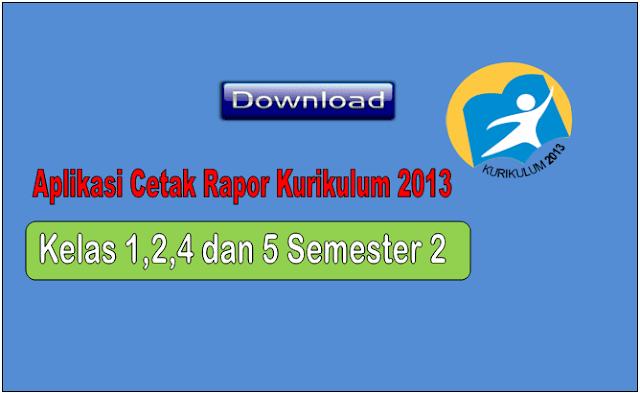 Aplikasi Excel cetak Rapor Kurikulum 2013 Kelas 1,2,4 dan 5 SD Semester 2