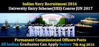 Indian Navy Recruitment 2016 for Permanent Commission Officers Posts Apply Online Here