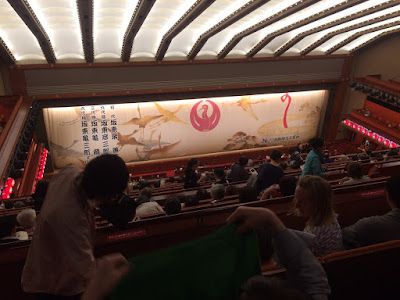 Looking down from the 4th floor to the stage of the Kabukiza Theatre