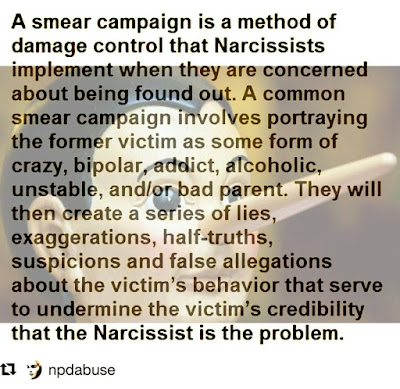 Narcissists smear campaign