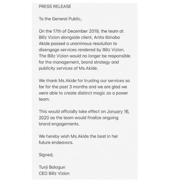 Tee billz reacts as Tacha officially ends her 3-month managerial relationship with him