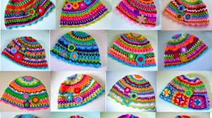30 gorros multicolores al crochet con patrón
