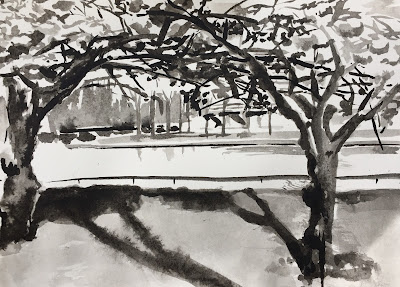 Blossom trees on Kattenburg island, original ink painting, plein air in Amsterdam by Philine van der Vegte