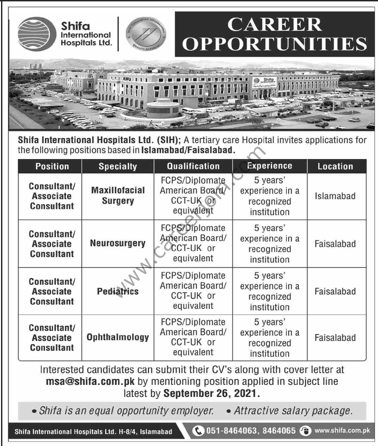Shifa International Hospital Ltd Jobs September 2021