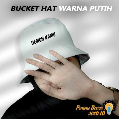 Bucket Hat Custom Desain Warna Putih Portfolio Design WEB ID