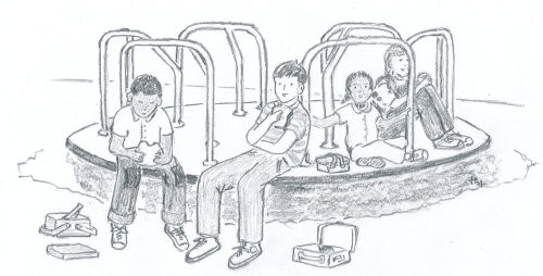 drawing of children sitting on a playground merry-go-round for the children's book The ABZ Affair