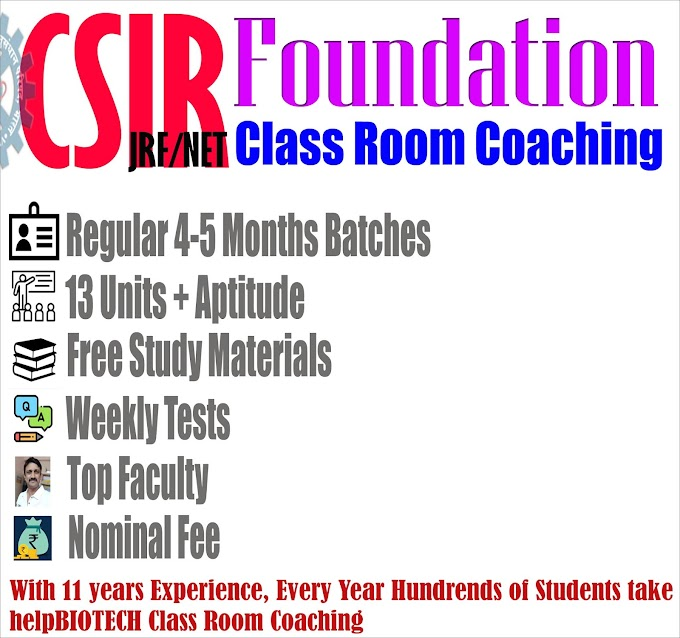 helpBIOTECH, Hyderabad CSIR JRF/NET 2021 June Life Sciences Class Room Coaching | Batches Started in Jan 2021 with All Safety Measures