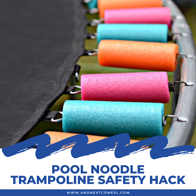 Cover trampoline springs with pool noodles to make your trampoline safer