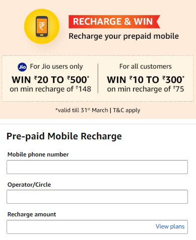 Amazon Pay Mobile Recharge Cashback Offer