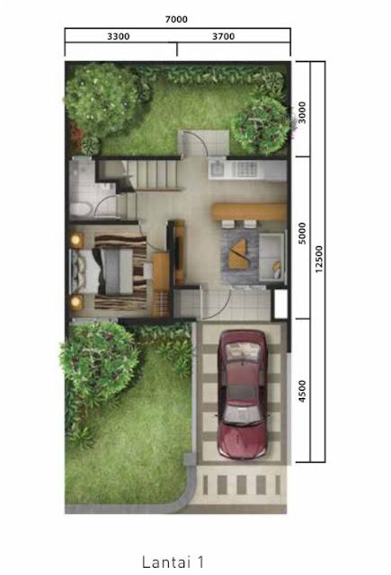 Lingkar Warna 4 Denah Rumah Minimalis Ukuran 7x12 Meter 3 Kamar Tidur 2 Lantai Tampak Depan