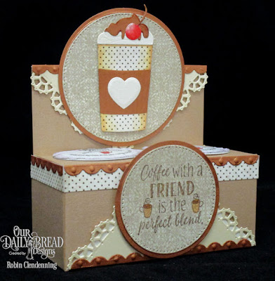Our Daily Bread Designs, I Love Coffee, Beverage Cup, Vintage Ephemera, Layered Lacey Squares, Bitty Borders, Circles, Pierced Circles, By Robin Clendenning