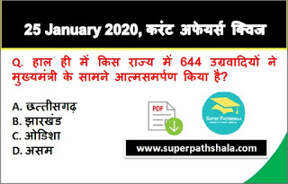 Daily Current Affairs Quiz in Hindi 25 January 2020