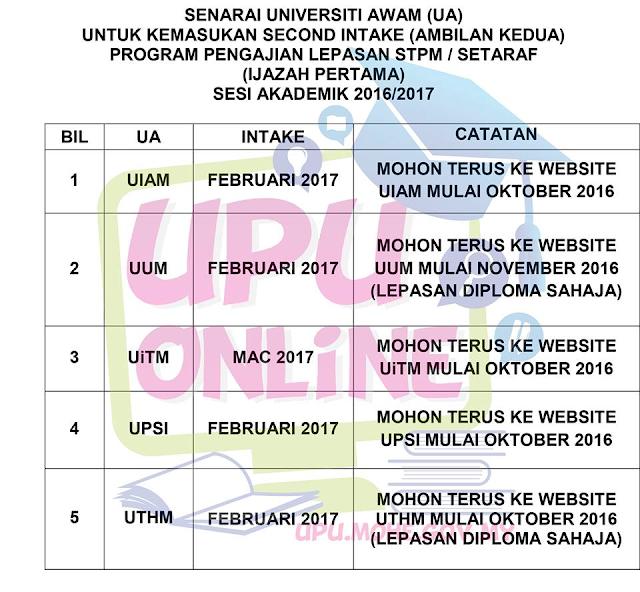 Permohonan UA Ambilan Kedua Sesi 2016/ 2017