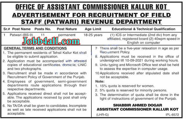 AC Office Kallurkot Job in Pak