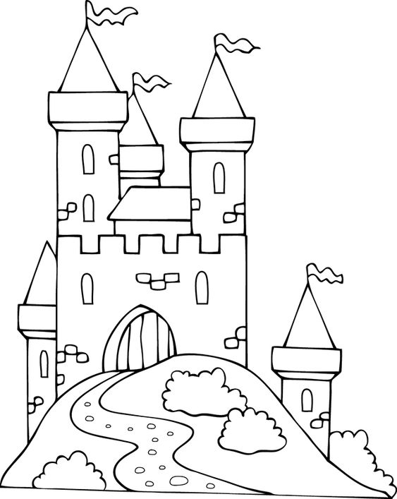Hình tô màu lâu đài dễ thương