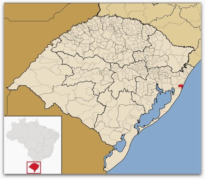 Cidade de Cidreira, no mapa do Rio Grande do Sul
