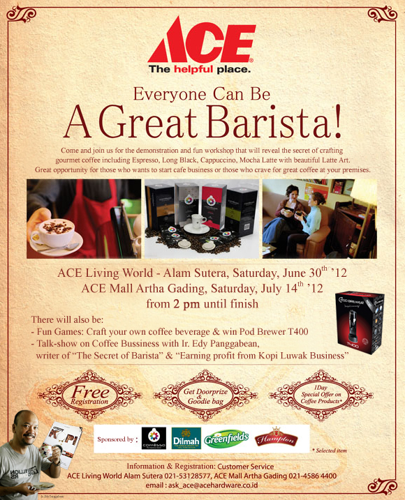Come And Join ACE Event: 'Everyone Can Be A Great Barista