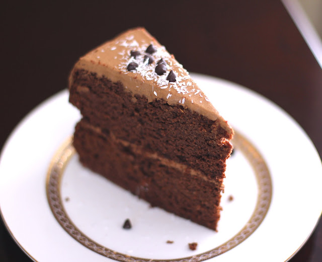 Healthy Decadent Chocolate Layer Cake with Chocolate Frosting with Chocolate Frosting