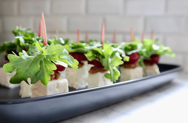 beet, feta cheese, walnut & arugula skewers