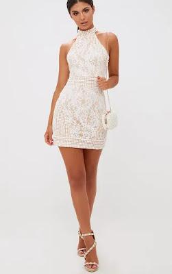 White High Neck lace crochet bodycon prom dress