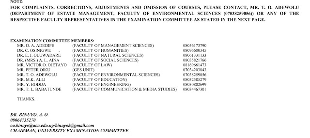 ACU Final Online Exam Timetable 2nd Semester 2019/2020 [UPDATED]
