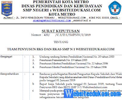 SK Penyusun RKS dan RKAS Terbaru 2019